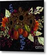 Black With Flowers And Fruit Metal Print