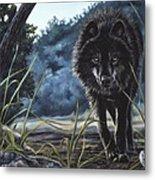 Black Wolf Hunting Metal Print