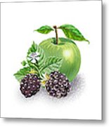 Blackberries And Green Apple Metal Print