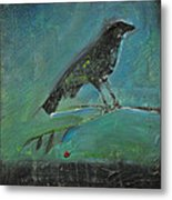Blackbird Redberry Metal Print