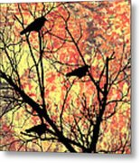 Blackbirds In A Tree Metal Print