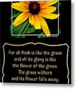 Blackeyed Susan With Bible Quote From 1 Peter Metal Print