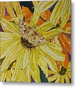 Blackeyed Susans And Butterfly Metal Print