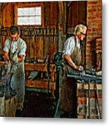Blacksmith And Apprentice Impasto Metal Print