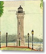 Blackwell Island Lighthouse Ny Chart Map Art Metal Print