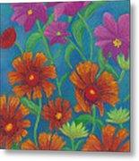 Blanket Flowers And Cosmos Metal Print