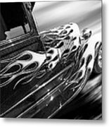 Blazing A Trail - Ford Model A 1929 In Black And White Metal Print