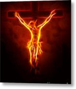 Blazing Jesus Crucifixion Metal Print by Pamela Johnson