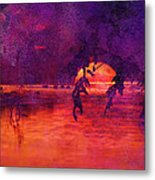 Bleeding Sunrise Abstract Metal Print