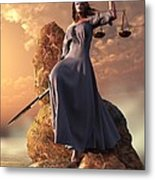 Blind Justice With Scales And Sword Metal Print by Daniel Eskridge