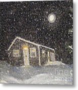 Blizzard At The Cabin Metal Print by Barbara Griffin