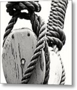 Block And Tackle Of Old Sailing Ship Metal Print