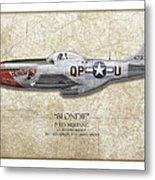 Blondie P-51d Mustang - Map Background Metal Print