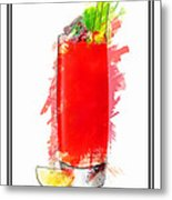 Bloody Mary Cocktail Marker Sketch Metal Print