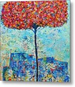 Blooming Beyond Known Skies - The Tree Of Life - Abstract Contemporary Original Oil Painting Metal Print by Ana Maria Edulescu