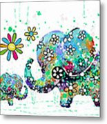 Blooming Elephants Metal Print