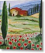Blooming Poppy In Tuscany Metal Print