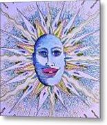 Blu Glitter Sun Metal Print