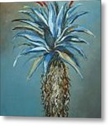 Blue Aloe With Red Flowers Metal Print