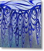 Blue And Black Swirl Abstract Metal Print