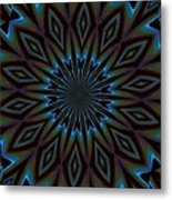 Blue And Brown Floral Abstract Metal Print