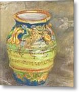 Blue And Gold Italian Pot Metal Print