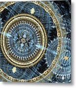 Blue And Gold Mechanical Abstract Metal Print