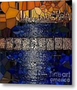 Blue And Gold Stained Abstract Metal Print