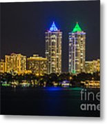 Blue And Green Diamond Twin Towers Metal Print