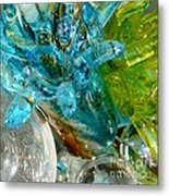Blue And Green Glass Abstract Metal Print
