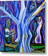 Blue And Purple Girl With Tree And Owl Metal Print