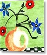 Blue And Red Flowers Metal Print