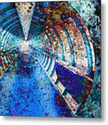 Blue And Rust Grunge Tunnel Metal Print