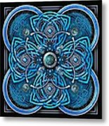 Blue And Silver Celtic Cross Metal Print