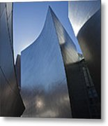 Blue and Silver Curves 1 Metal Print