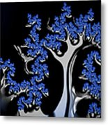 Blue And Silver Fractal Tree Abstract Artwork Metal Print