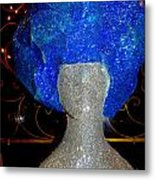 Blue And Silver Girl Metal Print