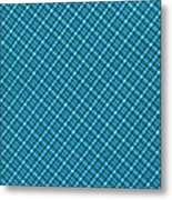 Blue And Teal Diagonal Plaid Pattern Textile Background Metal Print