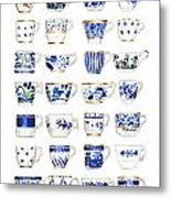 Blue And White Teacups Collage Metal Print