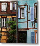Blue And Yellow Buildings In La Petite Venise In Colmar France Metal Print