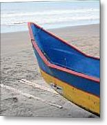 Blue And Yellow Fishing Boat On The Beach Metal Print