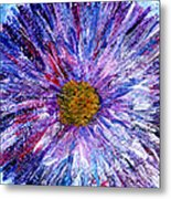 Blue Aster Miniature Painting Metal Print