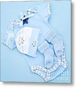 Blue Baby Clothes For Infant Boy Metal Print