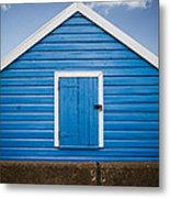 Blue Beach Hut Metal Print
