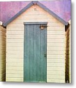 Blue Beach Hut Metal Print