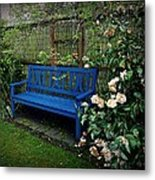 Blue Bench With Roses Metal Print