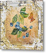 Blue Berries And Butterfly On Vintage Tin Metal Print
