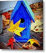 Blue Bird House Metal Print