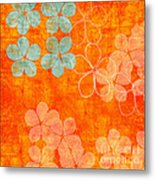Blue Blossom On Orange Metal Print
