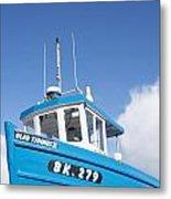 Blue Boat Blue Sky Metal Print